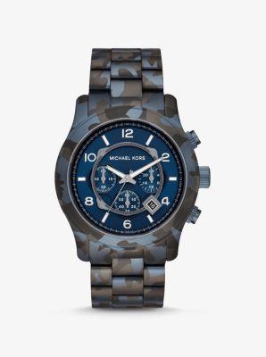 마이클 코어스 시계 Michael Kors Oversized Runway Blue-Tone Camo Watch,NAVY