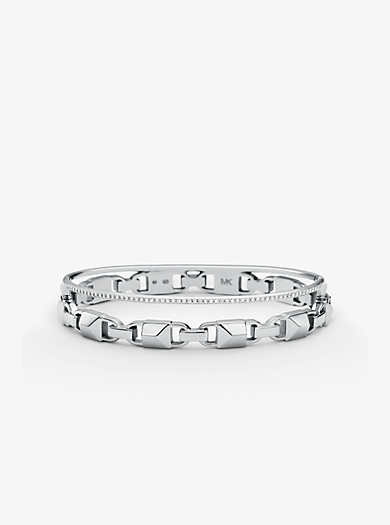 Precious Metal Plated Sterling Silver Mercer Link Pavé Halo Bangle Michael Kors