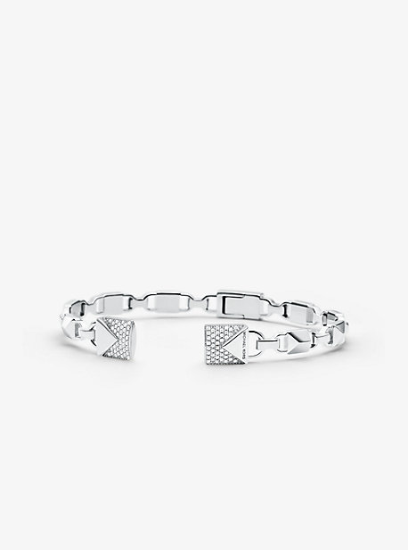 caa0866f9d Precious Metal-Plated Sterling Silver Pavé Open Hinge Bangle