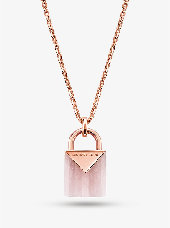 a7f4fb1c6a056 14K Rose Gold-Plated Sterling Silver Lock Necklace ...