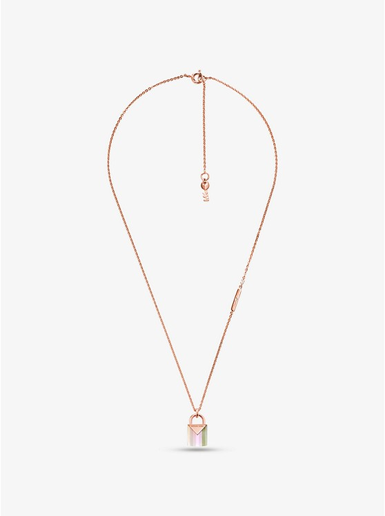 ... 14K Rose Gold-Plated Sterling Silver Lock Necklace ... 40349c67270d