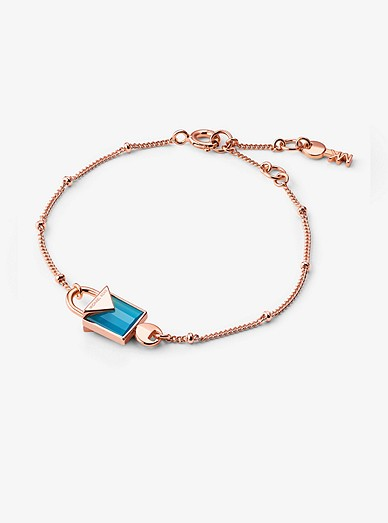 14K Rose Gold-Plated Sterling Silver Lock Bracelet   Michael Kors