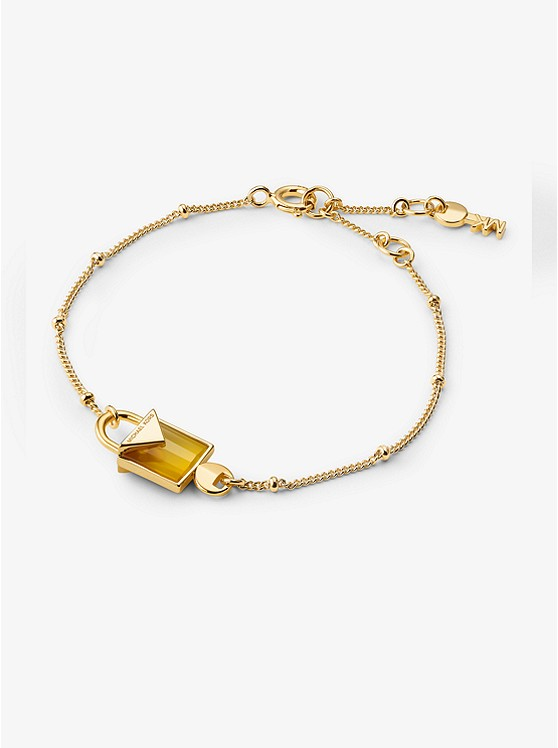 14k Gold Plated Sterling Silver Lock Bracelet