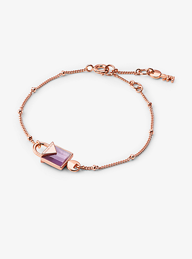 14k Rose Gold Plated Sterling Silver Lock Bracelet