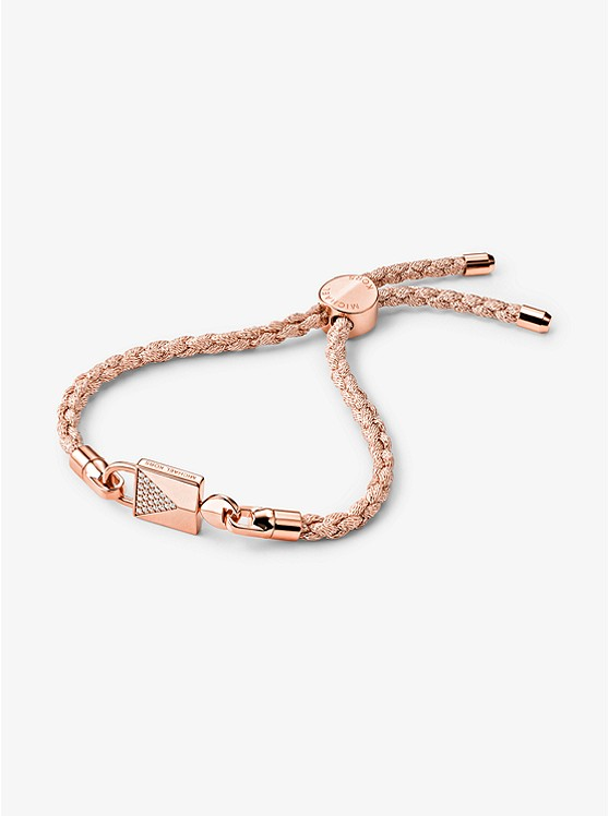 bbb7380602e5 14k Rose Gold-plated Sterling Silver Lock And Cord Bracelet Set ...