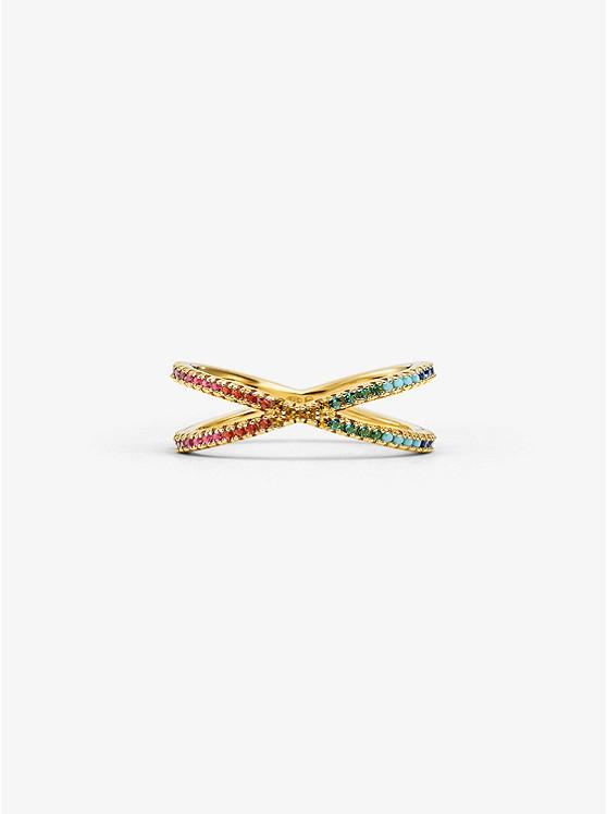 73de73269d61 14k Gold-plated Sterling Silver Rainbow Pavé Nesting Ring | Michael Kors