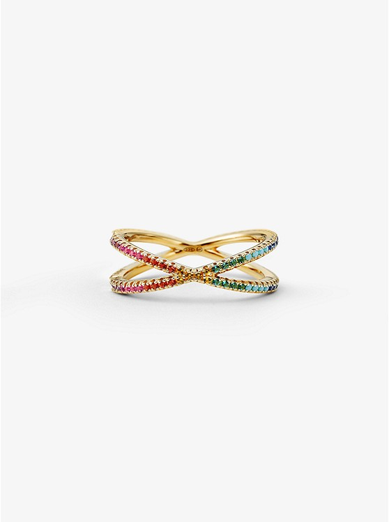 05f11706985c ... 14K Gold-Plated Sterling Silver Rainbow Pavé Nesting Ring ...