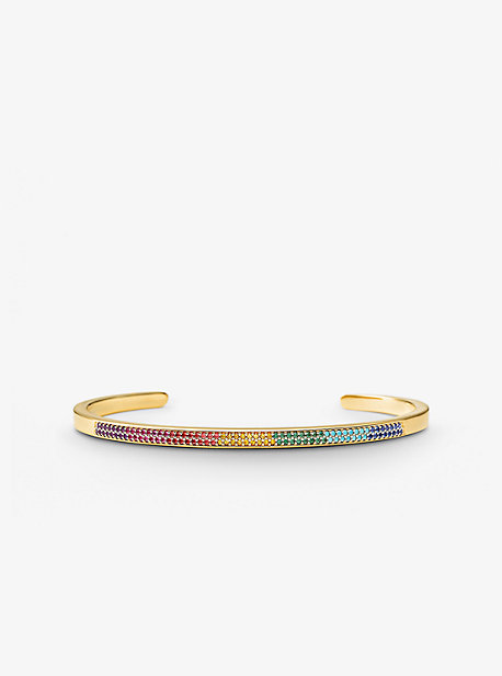14K Gold-Plated Sterling Silver Rainbow Pavé Nesting Cuff