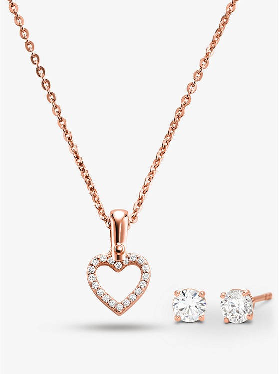 943e9095b78d Precious Metal-Plated Sterling Silver Pavé Heart Necklace and Stud Earrings  Set