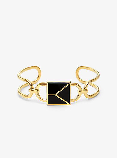 c3a97ce28041 Brazalete de candado Mercer de plata de ley con chapado en oro de 14 K · michael  kors ...