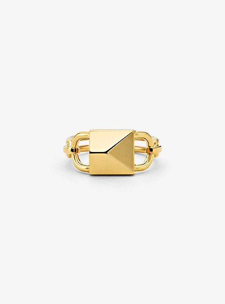 14K Gold-Plated Sterling Silver Oversized Mercer Lock Cocktail Ring