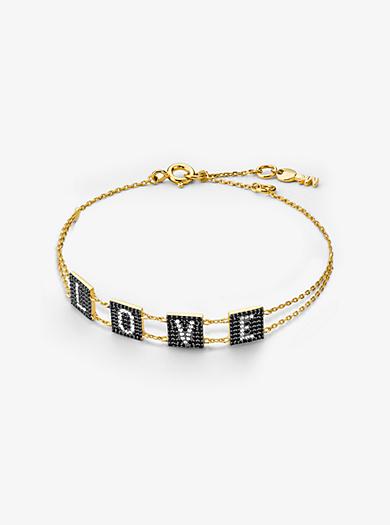 68481d2542f6 Pulsera Love de plata de ley con chapado en oro de 14 K e incrustaciones