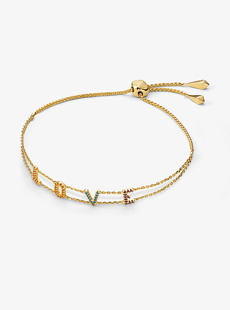 4ee010150b146a 14K Gold-Plated Sterling Silver Rainbow Pavé Love Slider Bracelet · michael  kors ...