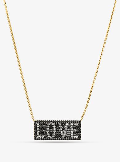 88558757199a Collar con candado de plata de ley con chapado en oro de 14 K e  incrustaciones