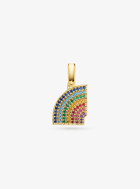 14K Gold-Plated Sterling Silver Pavé Rainbow Charm