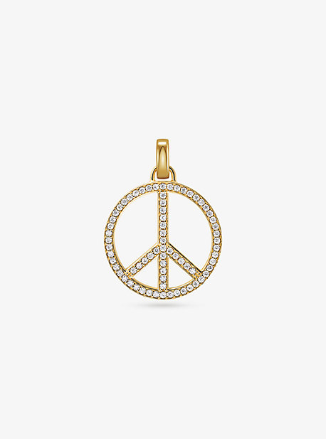 f16910181e7e 14K Gold-Plated Sterling Silver Pavé Oversized Peace Charm. michael kors ...