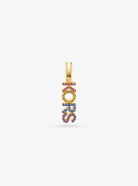 14K Gold-Plated Sterling Silver Rainbow Pavé Kors Charm
