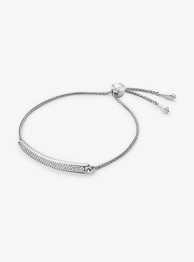 6690852815960 Precious Metal-Plated Sterling Silver Pavé Plaque Slider Bracelet   Michael  Kors