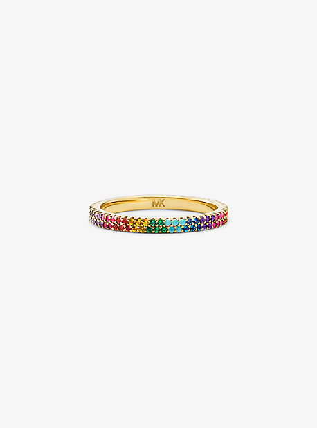 14K Gold-Plated Sterling Silver Rainbow Pavé Ring