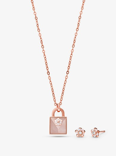 e496d65f7b899 14K Rose Gold-Plated Sterling Silver Necklace and Earrings Set. home ...
