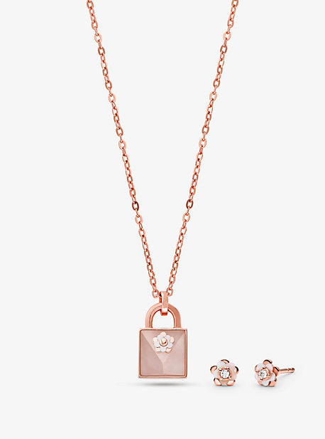 7eb4ad3c6 14K Rose Gold-Plated Sterling Silver Necklace and Earrings Set. michael kors  ...