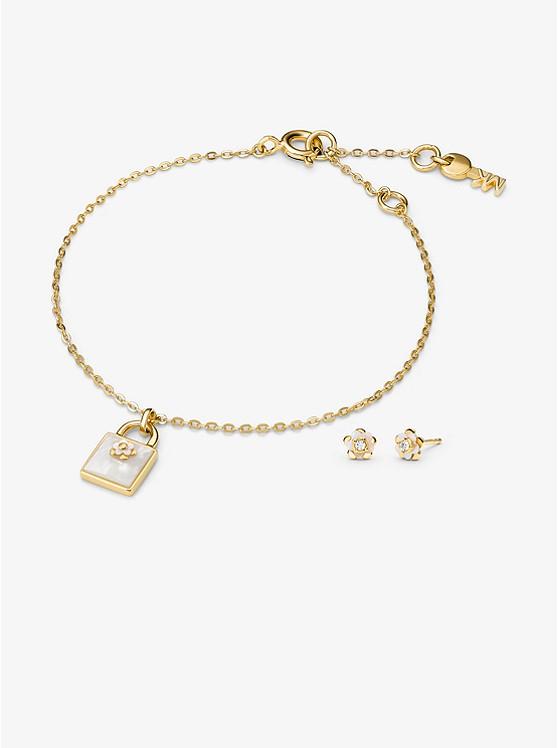 9b3713144 14k Gold-plated Sterling Silver Lock Bracelet And Earrings Set | Michael  Kors