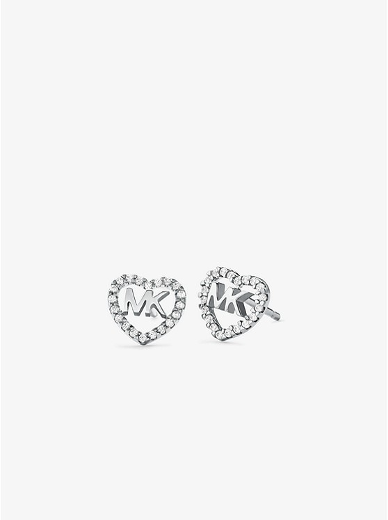 45e77966942ca Precious Metal-Plated Sterling Silver Pavé Heart Logo Studs