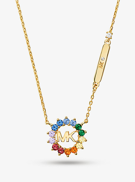 14K Gold-Plated Sterling Silver Rainbow Logo Necklace