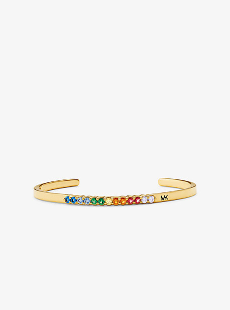 14K Gold-Plated Sterling Silver Rainbow Pavé Oversized Nesting Cuff