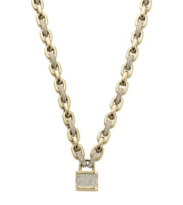 kors pendant lyst pave necklacegoldtone ring logo gold jewelry heritage necklace goldtone michael metallic in double