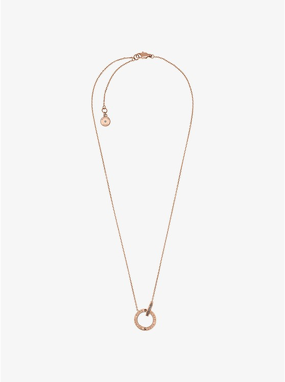 Rose gold tone logo circle pendant necklace michael kors rose gold tone logo circle pendant necklace aloadofball Image collections