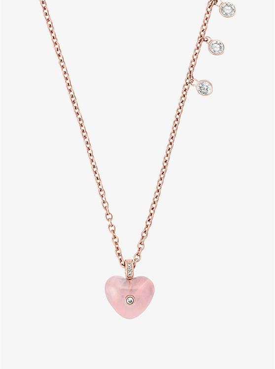 Rose gold tone heart pendant necklace michael kors rose gold tone heart pendant necklace aloadofball Choice Image
