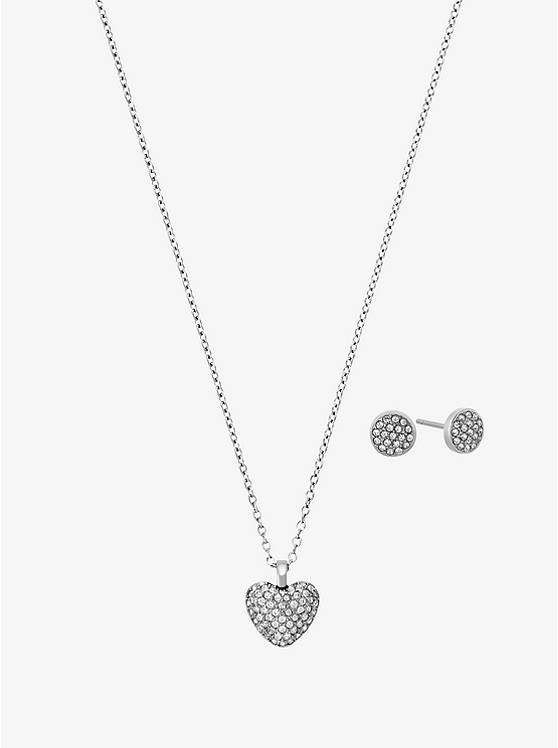 gold heart pave tone necklaces p kors necklace michael rose pendant context