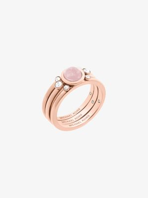 Rose Goldtone Genuine Rose Quartz Ring Michael Kors
