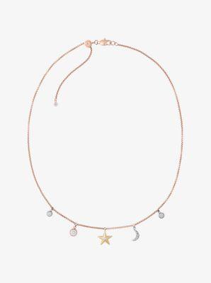 Rose Goldtone Celestial Charm Necklace Michael Kors