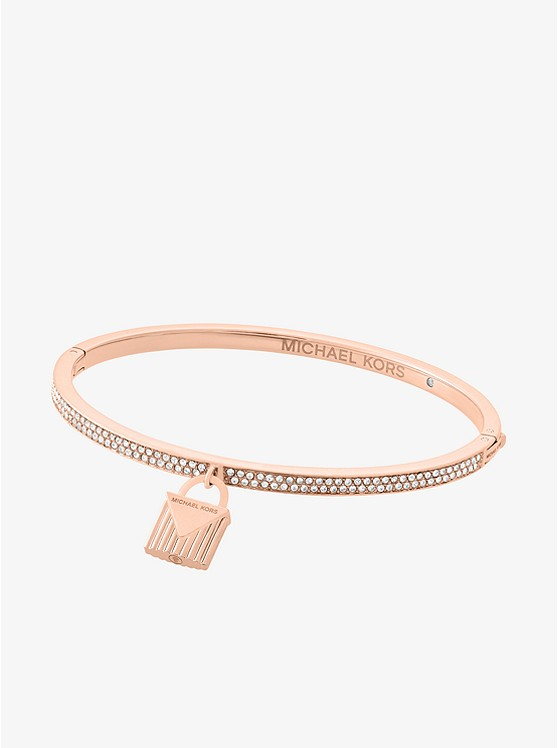 Pavé Rose Gold-Tone Lock Charm Bangle