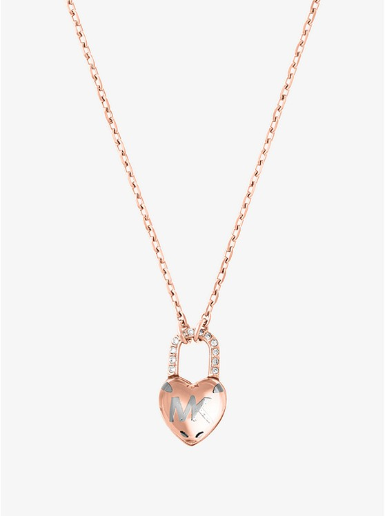 gold necklaces rose kors context necklace tone pendant p heart michael pave