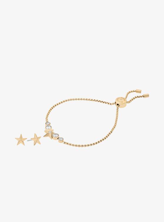 Michael Kors Gold-Tone Star Slider Bracelet And Earrings Set uTul5S