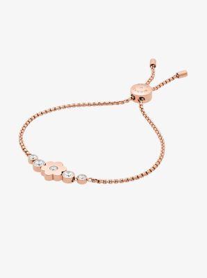 Pav Rose Goldtone Floral Slider Bracelet Michael Kors
