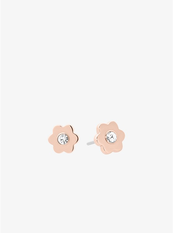 Rose Gold-Tone Floral Stud Earrings