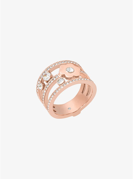Pavé Rose Gold-Tone Floral Ring