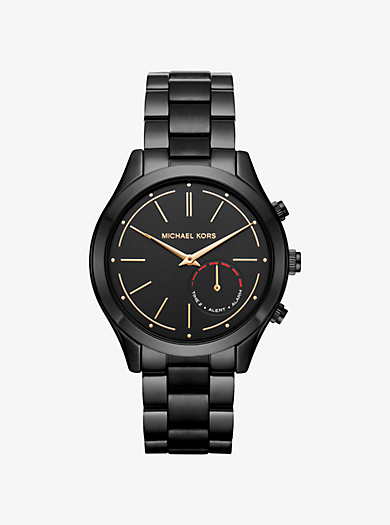 watches for men gold silver tone leather smartwatches slim runway black tone hybrid smartwatch