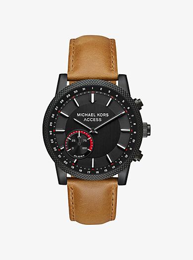 9009ea903181 Scout Black-Tone Leather Hybrid Smartwatch