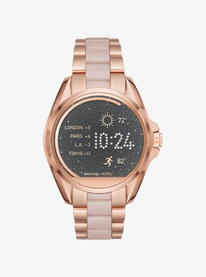 bradshaw rose gold tone and acetate smartwatch michael kors. Black Bedroom Furniture Sets. Home Design Ideas