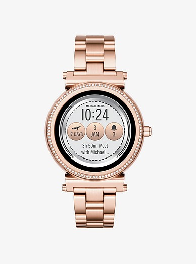 Sofie Pave Rose Gold Tone Smartwatch Michael Kors