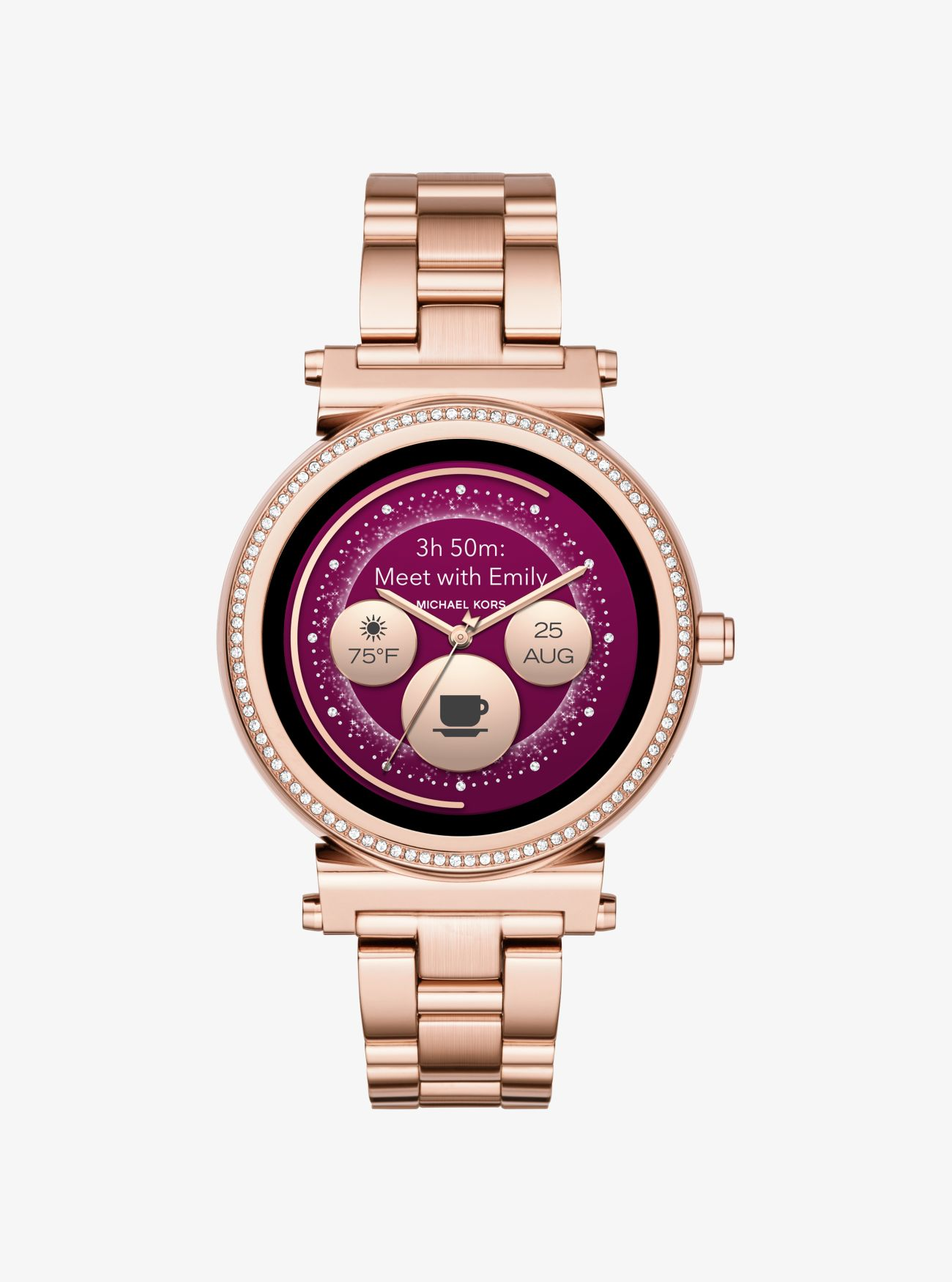 Montre Connectee Sofie Ton Or Rose Avec Pierres Pavees Michael Kors