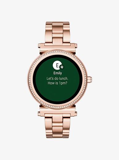 Sofie Pave Rose Gold Tone Smartwatch Michael Kors