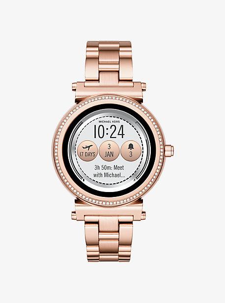 8747568d6a232 Sofie Pavé Rose Gold-Tone Smartwatch. michael kors access · Sofie ...