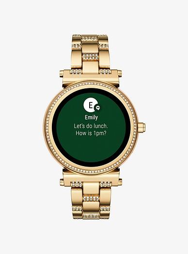 Sofie Pave Gold Tone Smartwatch Michael Kors