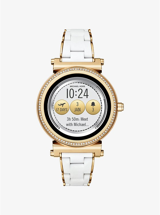 Sofie Pavé Gold-Tone and Silicone Smartwatch